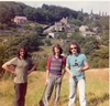 Graham Rua (Black Flag), Phil Ruff (Black Flag cartoonist) and Stuart Christie, Honley (Yorkshire) 1975