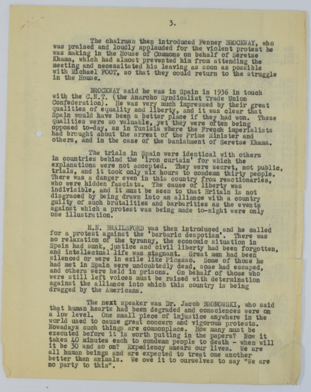 Special Branch report on protest meeting against Barcelona executions (1952) page 3