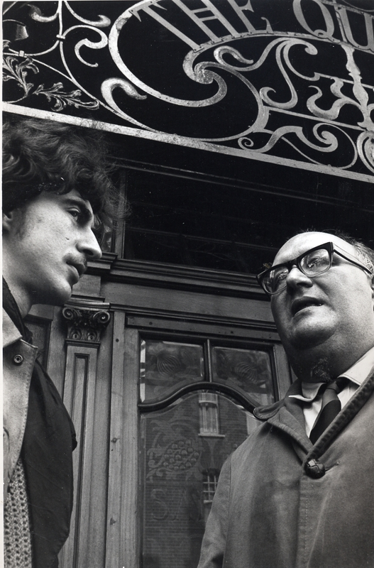 Stuart Christie and Albert Meltzer, outside the Queen's Head pub, Crouch End Broadway, 1968