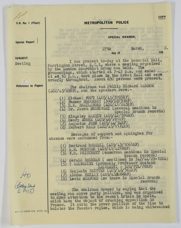 Special Branch report on protest meeting against Barcelona executions (1952) page 1