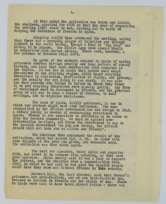 Special Branch report on protest meeting against Barcelona executions (1952) page 4