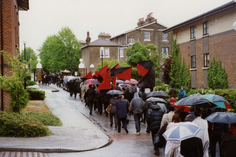 Red and black flags at Albert Meltzer's funeral