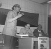 "Miguel Garcia speaking at a ""teach-in"" at the London School of Economics (LSE), 8 May 1976"