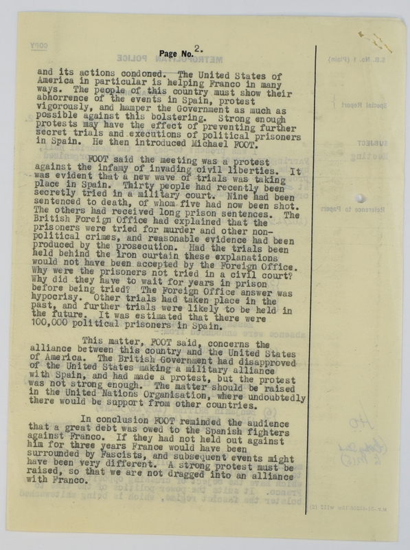 Special Branch report on protest meeting against Barcelona executions (1952) page 2